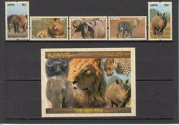 2017 Kenya NEW ISSUE! The Big 5 - May 10 - Lion Leopard Elephant Rhino Buffalo Complete Set Of 5 And Souvenir Sheet MNH - Kenia (1963-...)