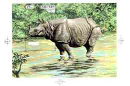 Bhutan 1990, Endangered Wildlife, Intermediate Stage Computer-generated Artwork (Rhino)