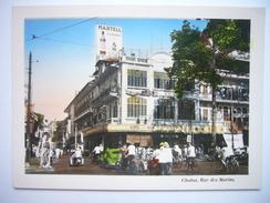 Petite Photo Ancienne Indochine Cochinchine Saigon Cholon -  Rue Des Marins Vers 1940-1950 Colorisée - Places