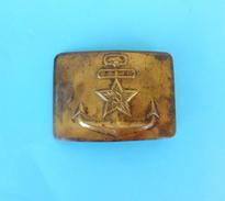 WW2 - SOVIET ( Russia ) NAVY - Vintage Brass Belt Buckle Laiton Boucle De Ceinture Gürtelschnalle Fibbia Della Cintura - 1939-45