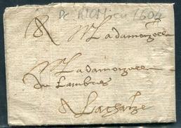 PUY DE DOME - LETTRE MANUSCRITE ENTIÉRE DE RIOM EN 1604 - SUP & RARE - Marcophilie (Lettres)