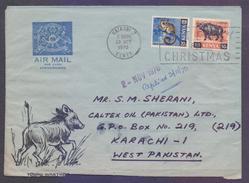 Buffalo, Bush Baby Animals, Postal History Cover - Aerogramme From KENYA, Used 1970 With Slogan Postmark On Christmas - Kenya (1963-...)