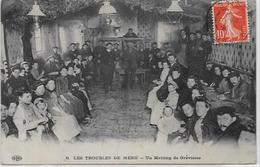CPA Politique Les Troubles De Méru Grèves Lampe à Pétrole Circulé En 1909 - Evènements