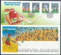 NZ  1994  Sc#1244-8 Cricket Set On 2 FDCs