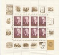 NOYTA CCCP - RUSSIE - FEUILLET COMPLET 8 TIMBRES + VIGNETTES - 100 ANS DE LENINE 1870-1970 /9