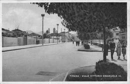 "D5820 ""ALBANIA - TIRANA - VIALE VITTORIO EMANUELE III"" ANIMATA. CART  SPED 1919 - Albania"