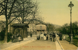 Dép 75 - Paris - Arrondissement 19 - Buttes Chaumont - Allée - Carte Toilée Couleurs - état - Arrondissement: 19