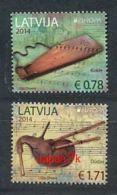 LETTLAND Mi.NR  904-905 A Europa - Volksmusikinstrumente -2014 - MNH - 2014