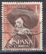 Sello 1 Pta Velazquez 1961, VARIEDAD Impresion, Edifil Num 1341 º - 1931-Hoy: 2ª República - ... Juan Carlos I
