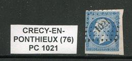 FRANCE- Y&T N°14A- PC 1021- (CRECY EN PONTHIEUX 76) - Marcophilie (Timbres Détachés)