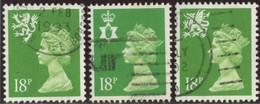 GB 1991 Yv. N°1579 à 1581 - 18p Vert-jaune Emissions Régionales - Oblitéré - Machins