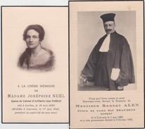 GEDACHTENISPRENTJES-LEUVEN+IXELLES-ROBERT ALEN-ADVOCAT+JOSEPHINE NUEL-EPOUSE-COLONEL-LEON PAHEAU-FOTO-ZIE 2 SCANS! ! - Images Religieuses