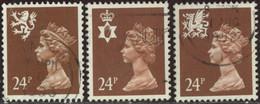 GB 1991 Yv. N°1582 à 1584 - 24p Marron Emissions Régionales - Oblitéré - Machins