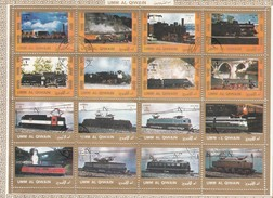 UMM-AL-QIWAIN  - FEUILLET 16 TIMBRES TRAINS - LOCOMOTIVES  / TB - Trains
