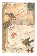 CPA Fantaisie JOYEUX NOEL Illustration Paysage Enneigé Mésanges Maisons Dorures  Style Art Nouveau Légèrement Gaufrée - Weihnachten