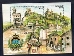 San Marino Foglietto Turismo 2002 6 X 0,62 € COD.FRA.977 - San Marino
