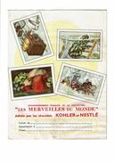 Protège Cahier Chocolat KOHLER NESTLE Merveilles Monde Soupe Maggi Fromage Grenouille Montgolfière Traineau Champignon - Protège-cahiers