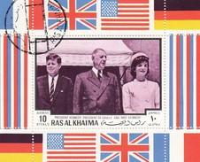 RAS AL KHAIMA  - BLOC PRESIDENT KENNEDY  PRESIDENT DE GAULLE AND MRS KENNEDY  / 6243 - Zonder Classificatie