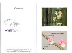 Bhutan 1990, Orchids, Vandopsis Parishi & Dendrobium Aphyllum IMPERF. Msheets In Folder - Bhoutan