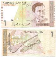 Kirguistan - Kyrgyzstan 1 Som 1999 Pick 15.a UNC - Kirguistán