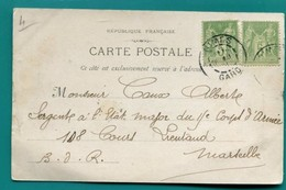 M7 TAD NIMES 28.10.1901 SUR 2 SAGE VERT JAUNE 5C - Postmark Collection (Covers)