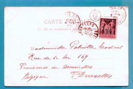 M18 SAGE 10 C NOIR SUR LILAS 103 TAD PARIS 22 8 JUIN 1900 SUR CP EXPOSITION UNIVERSELLE DE 1900 - Postmark Collection (Covers)