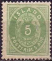 IJSLAND 1876-1901 5aur Groen Tanding 14x13½ PF-MNH - Neufs