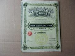 Fabrique De Soieries J. BARRET (tissages Du Val D'ainan) 1929 - Hist. Wertpapiere - Nonvaleurs