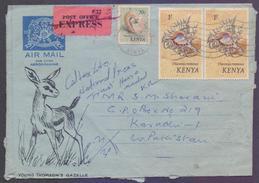 Sea Shells, Postal History Cover, EXPRESS Delivery Aerogramme From KENYA, Used 1973 - Kenya (1963-...)
