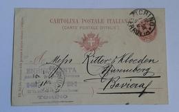 1898 INTERO POSTALE X ESTERO IMPERO TEDESCO DA TORINO A NORIMBERGA  (419) - 1878-00 Umberto I