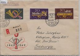 1949 100 Jahre Eidgenössische Post 291-293 Mi. 519-521 Recommende Baden Nach Schwyz 27.V. - Schweiz