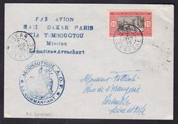1ER VOL RAID DAKAR PARIS VIA TOMBOUCTOU MISSION LEMAITRE*ARRACHART CAD 7/2/1925 F. MULLER N°2  200 PLIS - Airmail