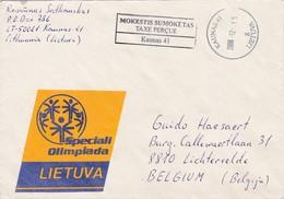 Letland - Lietuva : Gelopen Brief  ( Taxe Perçue )    Kaunas => Lichtervelde - Lettonie