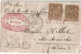 LCTN471 -  SAGE 30c X 2 SUR LETTRE CHARGEE PARIS STE CECILE / MONTSAUCHE 23/3/1892 - 1876-1898 Sage (Tipo II)