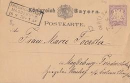 Bayr. Ganzsache Mit Ankunftsst. R3 Friedrichsstadt-Magdeburg 18.9.79 - Briefe U. Dokumente