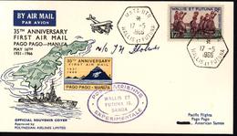 Wallis Et Futuna Aviation 35e Anniversaire 1er Vol Pago Pago Manu'a Polynesian Airlines Poste Aérienne Expérimentale - Cartas