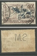Perforé S.M. Y&T N°963 40 Fr Canoé 1953 - Francia