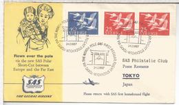 SUECIA CC PRIMER VUELO STOCKHOLM TOKYO SAS POLAR FLIGHT AL DORSO MAT TOKYO AIRPORT
