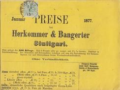 Württemberg Preisliste Der Firma Herkommer & Bangerter EF Minr.44 Stuttgart - Wuerttemberg