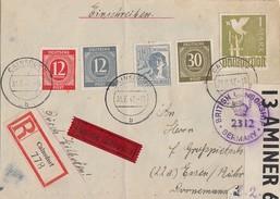 Gemeina. R-Brief Eilbote Mif Minr.919,920,928,947,959 Cainsdorf 31.7.47 Britische Zensur Gel. Nach Essen - Gemeinschaftsausgaben