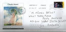 """Enveloppe Illustrée """"Femme à L'Ombrelle"""" 1886, De Claude Monet, Adressée Andorra, Avec Timbre à Date Arrivée - Impressionisme"""