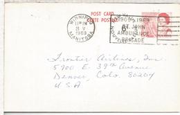 CANADA ENTERO POSTAL WINNIPEG 1969 MAT ST JOHN AMBULANCE BRIGADE SALUD REICHRADSON SECURITIES