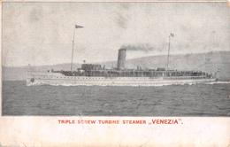 """05839 """"TRIPLE SCREW TURBINE STEAMER - VENEZIA - TRIESTE-VENEZIA - TRIESTE-ANCONA""""  CART NON SPED - Banche"""