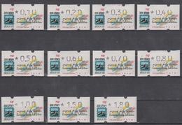ISRAEL 1995 KLUSSENDORF ATM EUROPEAN STAMP EXHIBITION JERUSALEM 3000 0.10 0.20 0.30 0.40 0.50 0.60 0.70 0.80 1 1.50 1.80 - Viñetas De Franqueo (Frama)