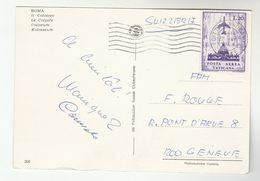 1968 VATICAN Stamps COVER (postcard Rome Coliseum)  To Switzerland - Vatican