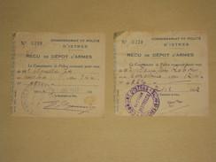 WW2 Istres 2x Reçu De Dépot D'Armes - Commissariat De Police 1942 - Section D'Entressen BdR - Revolver 7mm Carabine 12mm - Documents