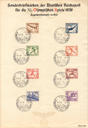 GERMANY KIEL 14/8/36 - OLYMPIC GAMES BERLIN 1936 - SAILING - SHEET WITH COMPLETE STAMPS OLYMPIC SERIES