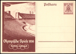 GERMANY - OLYMPIC GAMES BERLIN 1936 - OLYMPIC STADIUM - 2 MINT POSTAL STATIONERIES