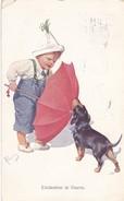Teckel  Dackel  Dachshund Enfants K.Feiertag  Chien  Hund  Cane  Old Postcard BKW 454-2  Cpa. 1913 - Chiens