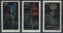 DDR 1966 - MiNr 1242-1244 - Geschützte Heimische Pflanzen - Lungenenzian, Rotes Waldvögelein, Bergwohlverleih - Pflanzen Und Botanik